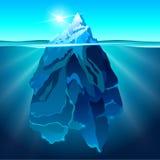 Eisberg im realistischen Vektorhintergrund des Wassers Lizenzfreie Stockfotografie
