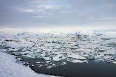 Eisberg in Island, ruhig Stockbild