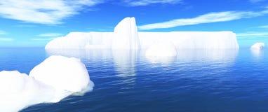 Eisberge in Wasser und in blauem Himmel 01 Lizenzfreies Stockbild