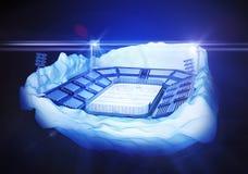 Eisberginsel mit Hockeystadion Stockbild