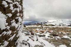 Eisbeschaffenheit auf einem Felsen stockfotos