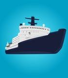 Eisbrechervektorillustration Atomschiff Arktisches Expeditionsnavigationsschiff Lizenzfreie Stockfotos