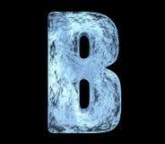 Eisbuchstabe B mit Sprüngen und Stößen lizenzfreie stockfotografie
