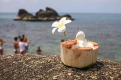 Eiscreme auf Sommerkokosnuß mit Orchideenblume Stockbild