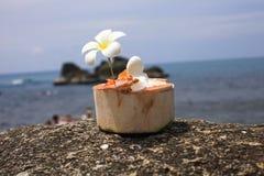 Eiscreme auf Sommerkokosnuß mit Orchideenblume Lizenzfreies Stockfoto