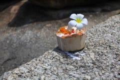 Eiscreme auf Sommerkokosnuß mit Orchideenblume Lizenzfreies Stockbild