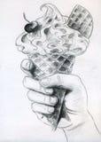 Eiscreme in der Hand Stockbilder