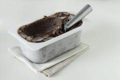 Eiscreme in einem Behälterbehälter auf weißem Hintergrund Lizenzfreie Stockfotos