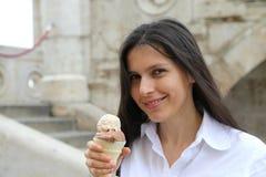 Eiscreme-Frau Stockfoto