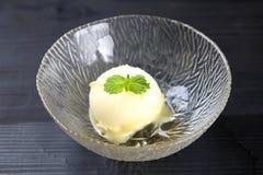 Eiscreme gewürzt mit Vanille-Extrakt lizenzfreie stockfotos