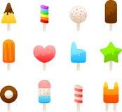 Eiscreme-Ikonenset Stockbilder