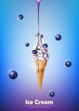 Eiscreme im Kegel, laufen Blaubeersirup und viel Blaubeerhintergrund, transparenten Vektor aus Stockfoto