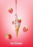 Eiscreme im Kegel, laufen Erbeersirup und viel Erdbeerhintergrund, transparenten Vektor aus Lizenzfreie Stockfotografie