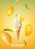 Eiscreme im Kegel, laufen Mangosirup und viel Mangohintergrund, transparenten Vektor aus Lizenzfreies Stockbild