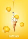 Eiscreme im Kegel, laufen Zitronensirup und viel Zitronenhintergrund, transparenten Vektor aus Lizenzfreie Stockbilder