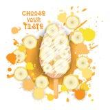 Eiscreme Lolly Colorful Dessert Icon Choose Ihr Geschmack-Café-Plakat stock abbildung