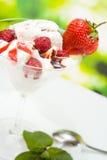 Eiscreme mit Erdbeere Stockfoto