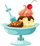Eiscreme mit Kuchen stock abbildung