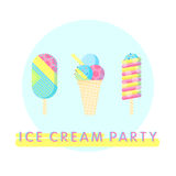 Eiscreme-Parteiplakat Stockfoto