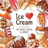 Eiscreme-Rahmenfahne für Shop oder Café Lizenzfreie Stockbilder