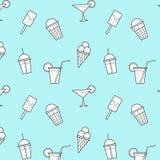 Eiscreme trinkt blauer Hintergrund-Vektor-nahtloses Muster lizenzfreie abbildung