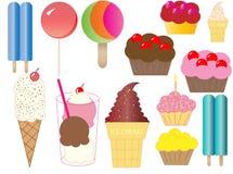 Eiscreme und Kuchen-Abbildung Lizenzfreie Stockfotos