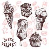 Eiscreme und Kuchen-Skizzen-Satz Lizenzfreies Stockfoto