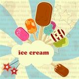 Eiscreme - Weinleseplakat Stockfotografie