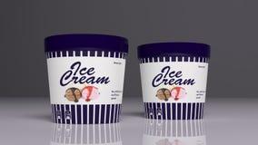 Eiscremebehälter Abbildung 3D Stockfotos