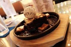 Eiscremeschokoladenkuchenlava Lizenzfreies Stockfoto
