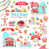 Eiscremevektor stellte mit Fahnenikonen und -illustrationen ein Stockfoto