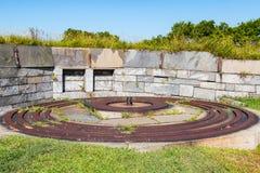 Eisen-Bahnen für 15 Zoll Rodman Gun bei Fort Monroe Stockfotografie