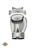 Eisen-Boxhandschuh Logoverpacken Verein Metallschale Stockfoto