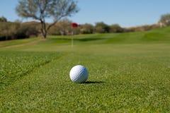 Eisen, das Golfball in der Bewegung schlägt Lizenzfreie Stockfotos