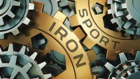 EISEN-SPORT-Konzept Gold und silberner Gang weel Hintergrund 3d übertragen lizenzfreie abbildung