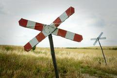 Eisenbahnüberfahrtzeichen Stockbild