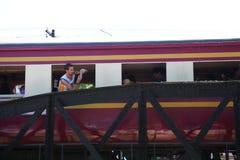 Eisenbahn auf Brückenszene stockfotografie