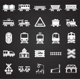 Eisenbahn bezog sich die Ikonen, die auf schwarzen Hintergrund für Grafik und Webdesign eingestellt wurden Einfaches Vektorzeiche vektor abbildung