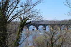 Eisenbahn-Brücke über dem James Stockfotos