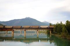 Eisenbahn-Brücke Revelstoke, Kanada Stockfotos