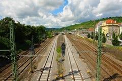 Eisenbahn der Stadt Esslingen morgens Neckar Stockbild