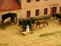 Eisenbahn des Dioramas Budweiss - Linz Lizenzfreie Stockfotos