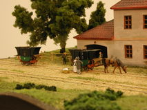 Eisenbahn des Dioramas Budweiss - Linz Stockfoto