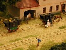 Eisenbahn des Dioramas Budweiss - Linz Lizenzfreies Stockfoto