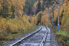 Eisenbahn, die zu Herbst führt Lizenzfreies Stockfoto