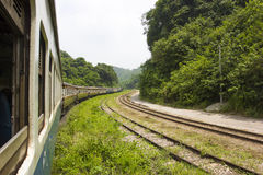 Eisenbahn durch die Berge mit Wald lizenzfreies stockbild