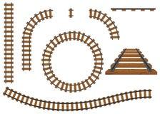 Eisenbahn, ein Satz Bahnstrecken Schienen und Lagerschwellen Stockfotografie