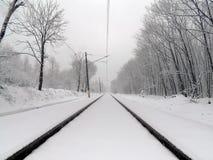 Eisenbahn in einem schneebedeckten Wald Stockbilder