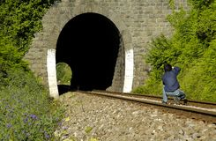 Eisenbahn-Fotograf Stockbild