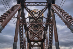 Eisenbahn Katy Bridge bei Boonville stockbilder